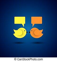 weinig; niet zo(veel), het communiceren, twee vogels,...