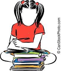 weinig; niet zo(veel), illustratie, vector, boekjes , girl lezen