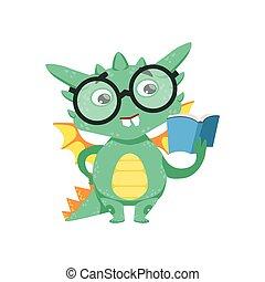 weinig; niet zo(veel), karakter, stijl, boekenworm, draak, emoji, boek, illustratie, baby, lezende , spotprent, smart, anime