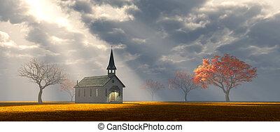 weinig; niet zo(veel), kerk, op, de, prairie