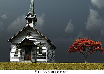 weinig; niet zo(veel), kerk, op, de, prarie