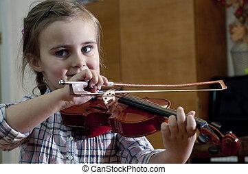 weinig; niet zo(veel), leren, viool, meisje, schattige, spelend