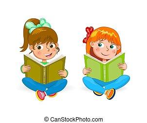 weinig; niet zo(veel), lezen, meiden, twee, boekjes , vrolijke