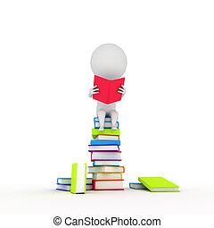 weinig; niet zo(veel), lezende , boekjes , kerel