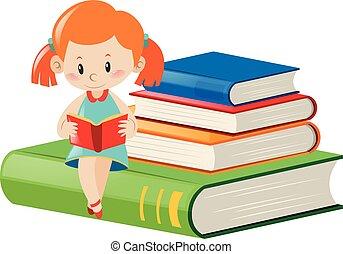 weinig; niet zo(veel), lezende , boekjes , meisje