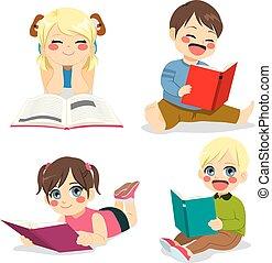 weinig; niet zo(veel), lezende , kinderen