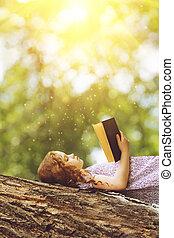 weinig; niet zo(veel), lezende , meisje, bijbel