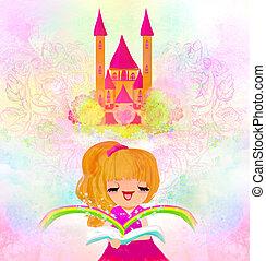 weinig; niet zo(veel), lezende , meisje, fairy verhalen