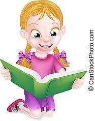 weinig; niet zo(veel), lezende , meisje