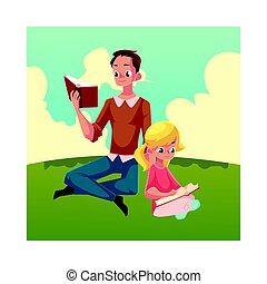 weinig; niet zo(veel), lezende , zittende , jonge, boekjes , gekruiste, meisje, benen, man