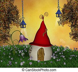 weinig; niet zo(veel), magisch, woning