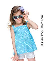 weinig; niet zo(veel), mode, meisje, bril