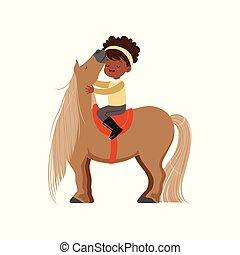 weinig; niet zo(veel), mooi en gracieus, pony, childrens, illustratie, paarde, amerikaan, vector, afrikaan, paardrijden, meisje, sportende, ruiter