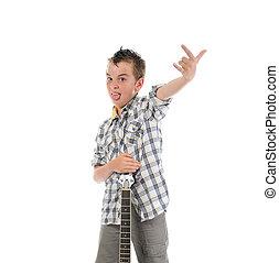weinig; niet zo(veel), musicus, spelende guitar