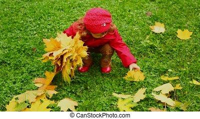 weinig; niet zo(veel), park, herfst, collecteren, vellen, meisje