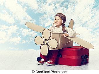 weinig; niet zo(veel), piloot, avia, vliegen, kind, reiziger, vliegtuig, spelend, geitje
