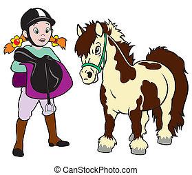 weinig; niet zo(veel), pony, meisje