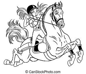 weinig; niet zo(veel), pony, paarde, meisje