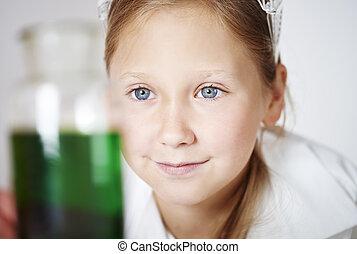 weinig; niet zo(veel), schattig, meisje, in, laboratorium