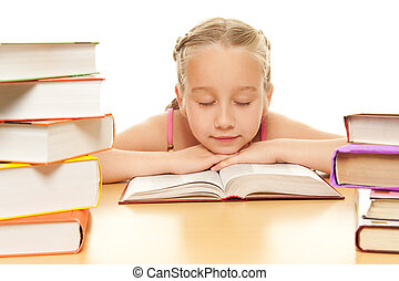 weinig; niet zo(veel), schoolgirl, herfst, slapend, na, het lezen van een boek