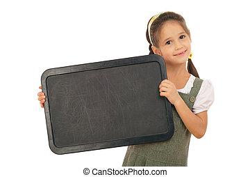 weinig; niet zo(veel), schoolgirl, met, lege, chalkboard, horizontaal, vrijstaand, op wit