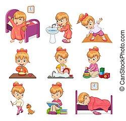weinig; niet zo(veel), set, dagelijks routine, illustraties, meisje
