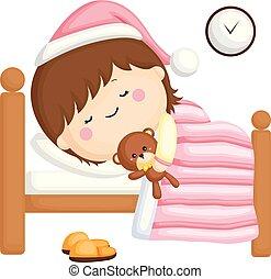 weinig; niet zo(veel), set, haar, bed, slapende, vector, nachtmeisje