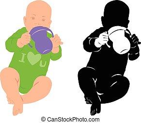 weinig; niet zo(veel), silhouette, kind