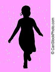 weinig; niet zo(veel), silhouette, meisje
