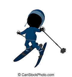 weinig; niet zo(veel), silhouette, meisje, illustratie, skier