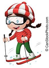 weinig; niet zo(veel), ski, meisje, spelend