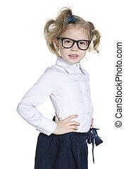 weinig; niet zo(veel), slim, meisje, bril