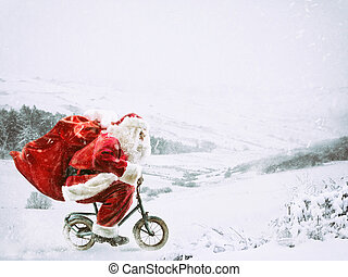 weinig; niet zo(veel), sneeuw, winterlandschap, onder, claus, fiets, kerstman