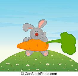 weinig; niet zo(veel), speelbal, konijntje, carro, spotprent