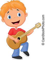 weinig; niet zo(veel), spelend, jongen, spotprent, gitaar