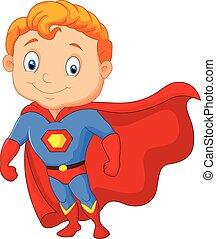 weinig; niet zo(veel), spotprent, jongen, superhero
