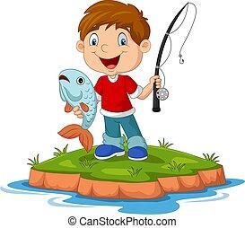 weinig; niet zo(veel), spotprent, vrolijke , visserij, jongen
