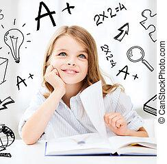 weinig; niet zo(veel), student, meisje, studerend , op, school