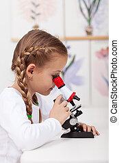 weinig; niet zo(veel), student, studeren, planten, in, biologie klas