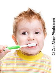 weinig; niet zo(veel), teeth., dentaal, vrijstaand, kind, tandenborstel, afborstelen