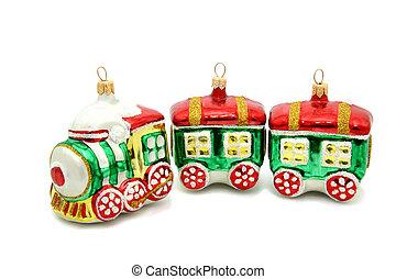 weinig; niet zo(veel), trein, kerstboom, speelbal