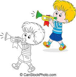 weinig; niet zo(veel), trumpeter