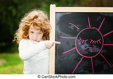 weinig; niet zo(veel), verdrietige , punten, picture., plank, ontevreden, meisje