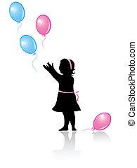 weinig; niet zo(veel), vliegen, ballons, gekleurde, meisje