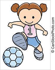weinig; niet zo(veel), voetbal, meisje, spelend