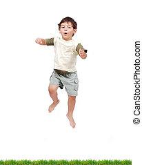 weinig; niet zo(veel), vrijstaand, springt, kind, witte , kleren, vrolijke