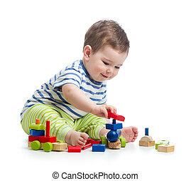 weinig; niet zo(veel), vrolijk, kind gespeel, met, gebouw stel