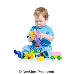 weinig; niet zo(veel), vrolijk, kind, met, gebouw stel, op,...