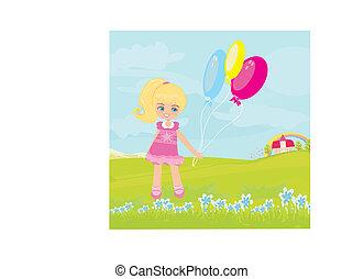 weinig; niet zo(veel), vrolijke , meisje, balloons.