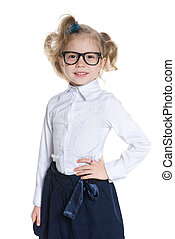 weinig; niet zo(veel), vrolijke , meisje, bril